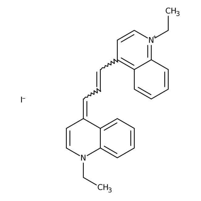 Alfa Aesar™1,1'-Diethyl-4,4'-carbocyanine iodide, 96%: Quinolones and derivatives Quinolines and derivatives