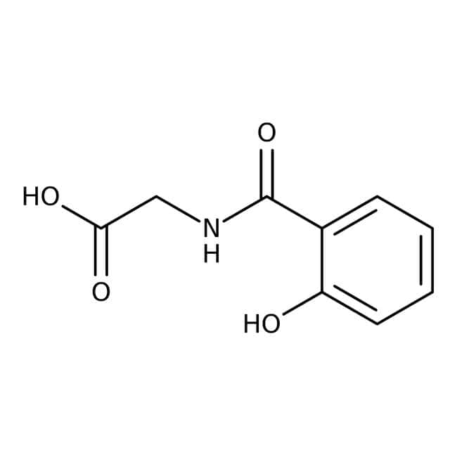 2-Hydroxyhippuric acid, 95%, Acros Organics 2.5g; Glass bottle 2-Hydroxyhippuric acid, 95%, Acros Organics
