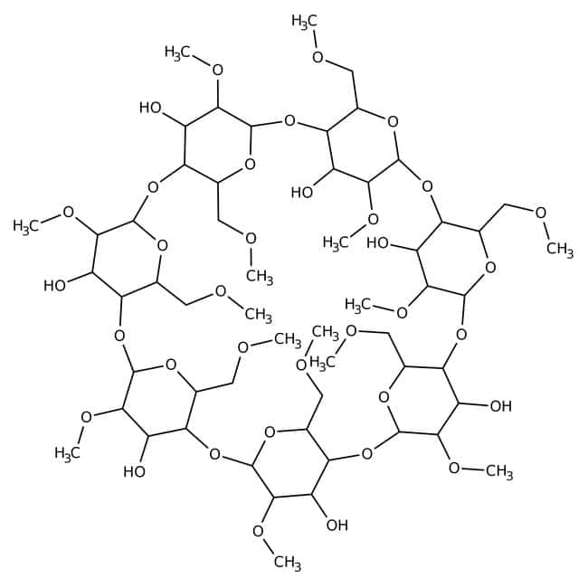Dimethyl-β-cyclodextrin, methylated β-cyclodextrins, 96%, ACROS Organics™ 5g; Glass bottle Dimethyl-β-cyclodextrin, methylated β-cyclodextrins, 96%, ACROS Organics™