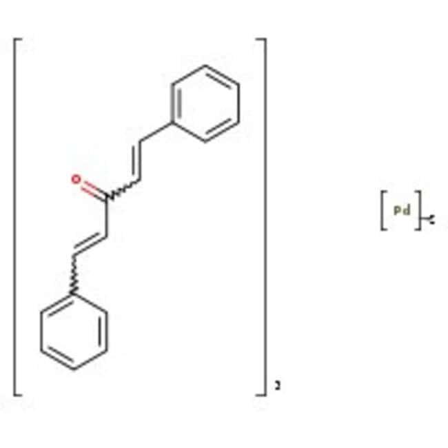 Tris(dibenzylideneacetone)dipalladium(0), 97%, ACROS Organics™ 25g; Glass bottle Tris(dibenzylideneacetone)dipalladium(0), 97%, ACROS Organics™
