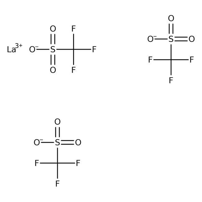 Lanthanum(III) trifluoromethanesulfonate, 99%, ACROS Organics™ 5g; Glass bottle Lanthanum(III) trifluoromethanesulfonate, 99%, ACROS Organics™
