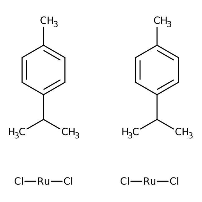 Di-µ-chlorobis(p-cymene)chlororuthenium(II), 98%, ACROS Organics™ 1g; Glass bottle Di-µ-chlorobis(p-cymene)chlororuthenium(II), 98%, ACROS Organics™