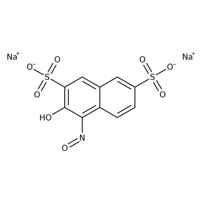 1-Nitroso-2-naphthol-3,6-disulfonic acid, disodium salt hydrate, pure, indicator gra, ACROS Organics™ 500g; Glass bottle 1-Nitroso-2-naphthol-3,6-disulfonic acid, disodium salt hydrate, pure, indicator gra, ACROS Organics™
