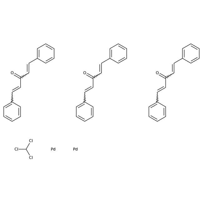 Alfa Aesar™Tris-(dibenzylidenaceton)-dipalladium(0), Komplex mit Chlorform, Pd 20.6% 5g Alfa Aesar™Tris-(dibenzylidenaceton)-dipalladium(0), Komplex mit Chlorform, Pd 20.6%