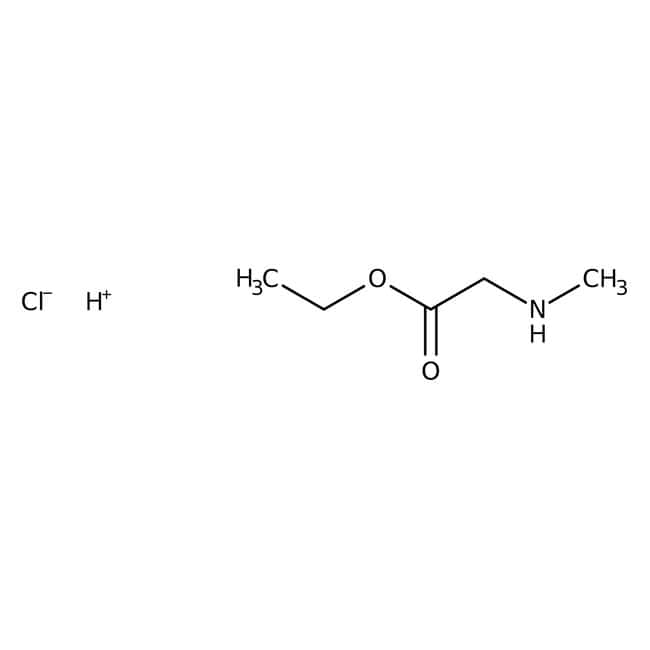 Sarcosine ethyl ester hydrochloride, 97%, Acros Organics 10g; Glass bottle Sarcosine ethyl ester hydrochloride, 97%, Acros Organics