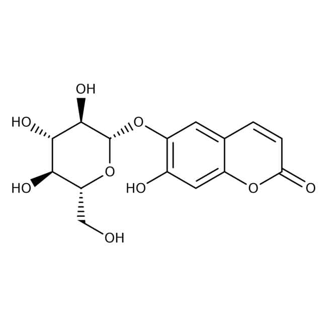 Esculin hydrate, 97%, ACROS Organics™ 50g; Glass bottle Esculin hydrate, 97%, ACROS Organics™
