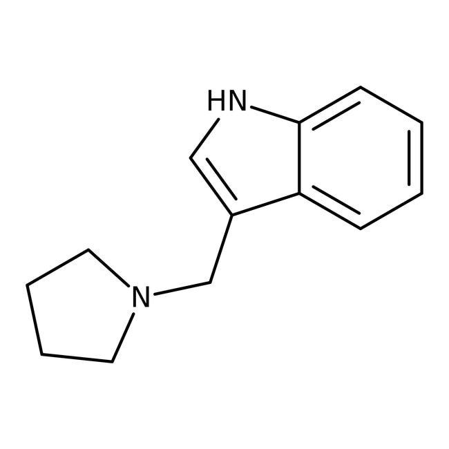 Alfa Aesar™3-(1-Pyrrolidinylmethyl)indole, 95% 250mg Alfa Aesar™3-(1-Pyrrolidinylmethyl)indole, 95%