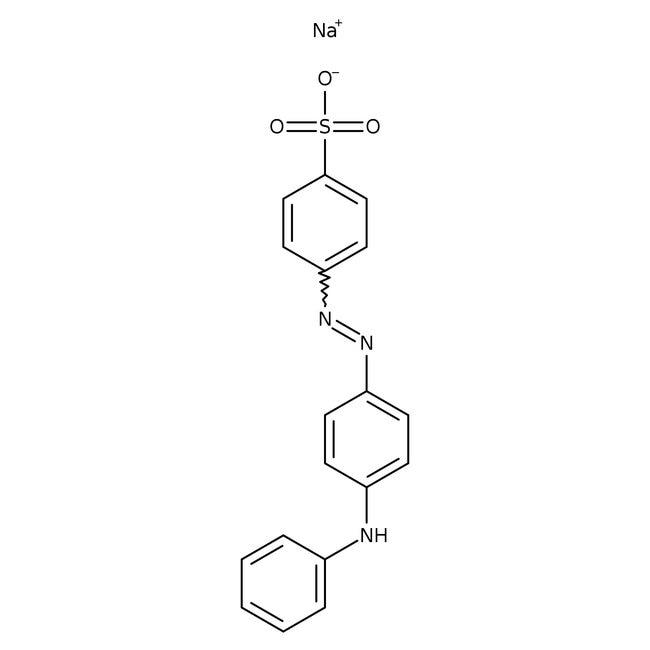 4-(4-Anilinophenylazo)benzenesulfonic acid sodium salt, indicator grade, Acros Organics 25g; Glass bottle 4-(4-Anilinophenylazo)benzenesulfonic acid sodium salt, indicator grade, Acros Organics