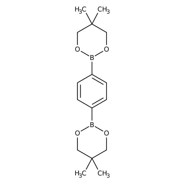 Alfa Aesar™Ester bis(néopentylglycol) d'acide 1,4-benzènediboronique, 99% 1g Alfa Aesar™Ester bis(néopentylglycol) d'acide 1,4-benzènediboronique, 99%