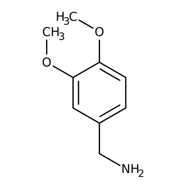 3,4-Dimethoxybenzylamine, 97%, ACROS Organics™ 25g; Glass bottle 3,4-Dimethoxybenzylamine, 97%, ACROS Organics™