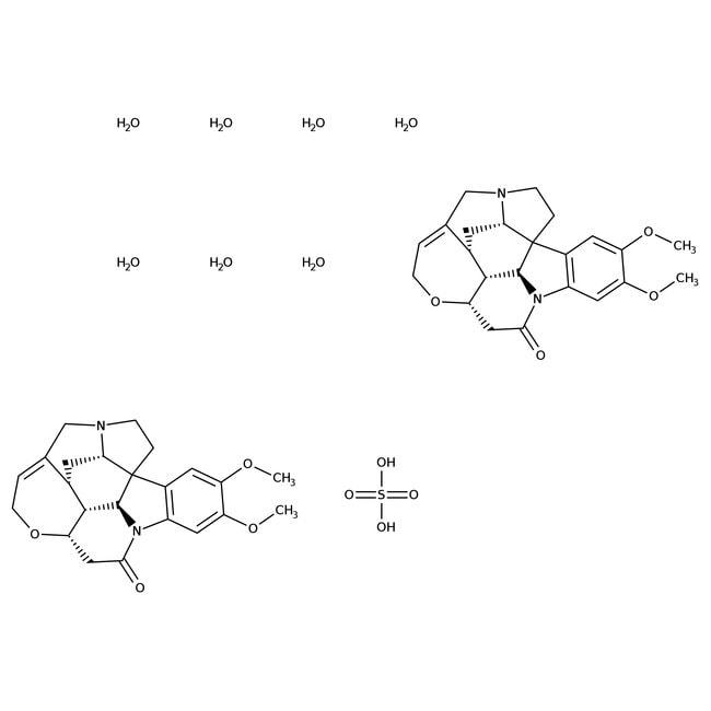 Sulfate de brucine heptahydraté, 98+%, réactif ACS, Acros Organics 10g; flacon en verre Sulfate de brucine heptahydraté, 98+%, réactif ACS, Acros Organics