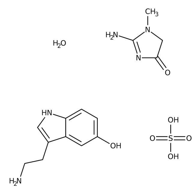 Sérotonine Créatinine Sulfate monohydraté, 99%, AcrosOrganics 5g; Glass bottle Sérotonine Créatinine Sulfate monohydraté, 99%, AcrosOrganics