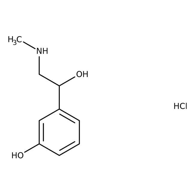 L(-)-Phenylephrine hydrochloride, 99%, ACROS Organics™ 25g; Glass bottle L(-)-Phenylephrine hydrochloride, 99%, ACROS Organics™