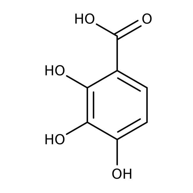 Acide 2,3,4-trihydroxybenzoïque, 97%, ACROS Organics™ 5g; flacon en verre Acide 2,3,4-trihydroxybenzoïque, 97%, ACROS Organics™