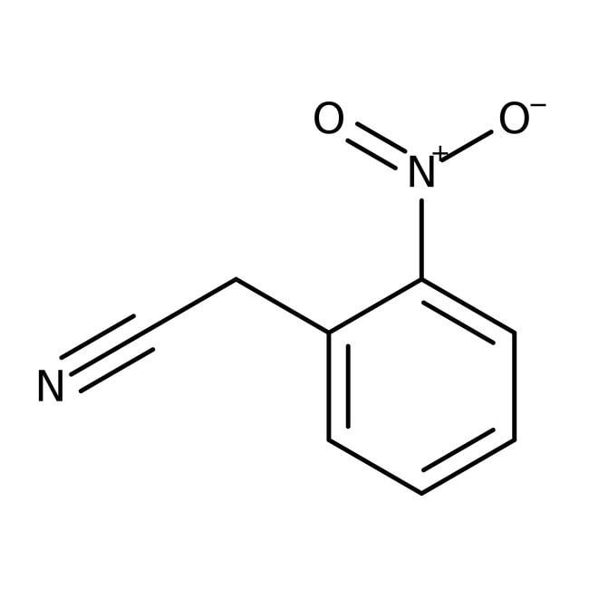 2-Nitrofenilacetonitrilo, 98%, ACROS Organics™ 10g; frasco de vidrio 2-Nitrofenilacetonitrilo, 98%, ACROS Organics™