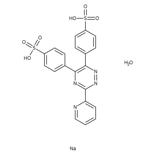 FerroZine(TM) iron reagent, hydrate, 98+%, pure, ACROS Organics™ 5g; Glass bottle FerroZine(TM) iron reagent, hydrate, 98+%, pure, ACROS Organics™