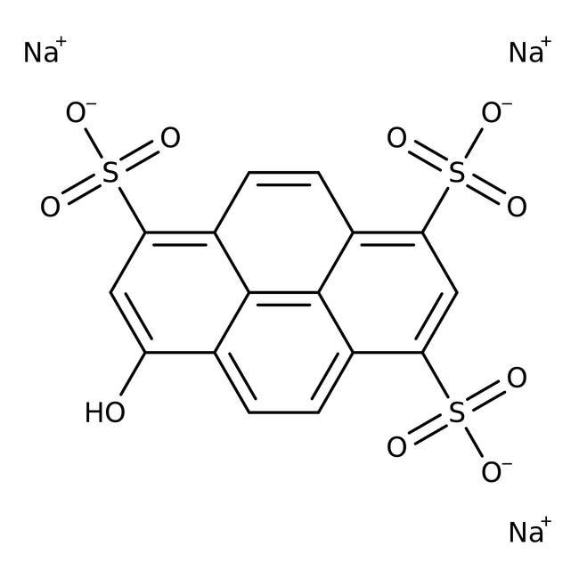 8-Hydroxy-1,3,6-pyrenetrisulfonic acid trisodium salt, 98%, ACROS Organics™ 1g; Glass bottle 8-Hydroxy-1,3,6-pyrenetrisulfonic acid trisodium salt, 98%, ACROS Organics™