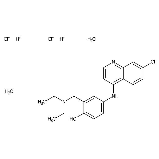 Alfa Aesar™4-(7-Chloro-4-quinolinylamino)-2-(diethylaminomethyl)phenol dihydrochloride dihydrate, 98% 25g Alfa Aesar™4-(7-Chloro-4-quinolinylamino)-2-(diethylaminomethyl)phenol dihydrochloride dihydrate, 98%