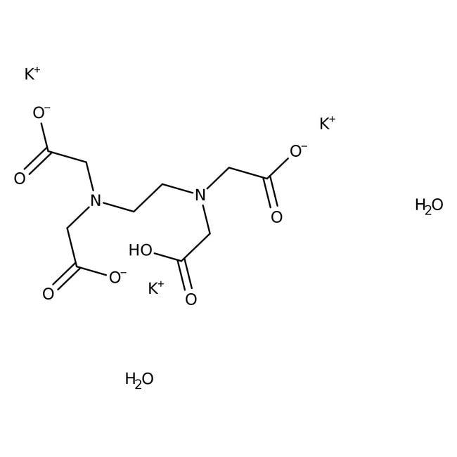 Ethylenediaminetetraacetic acid, tripotassium salt dihydrate, 99+%, ACROS Organics™ 2.5Kg; Plastic bottle Ethylenediaminetetraacetic acid, tripotassium salt dihydrate, 99+%, ACROS Organics™