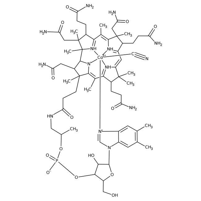 Cyanocobalamin, 96%, ACROS Organics™ 500mg; Glass bottle Cyanocobalamin, 96%, ACROS Organics™