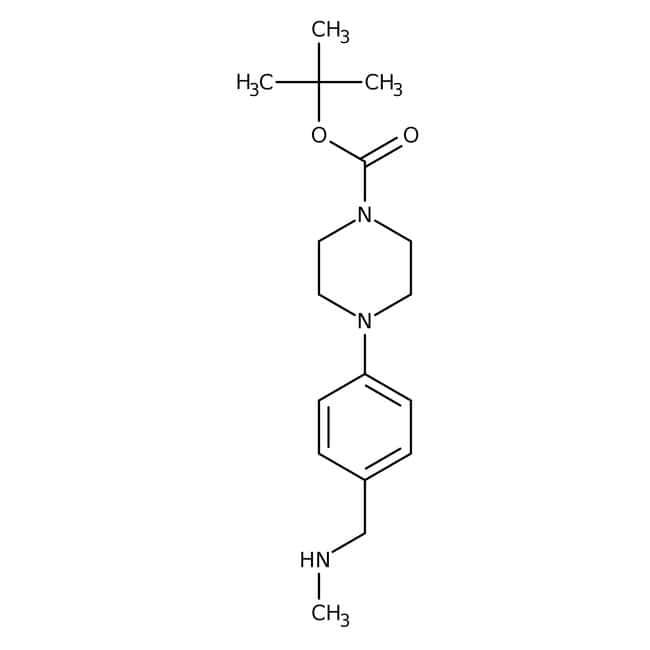 tert-Butyl 4-{4-[(methylamino)methyl]phenyl}piperazine-1-carboxylate, ≥90%, Maybridge Amber Glass Bottle; 250mg tert-Butyl 4-{4-[(methylamino)methyl]phenyl}piperazine-1-carboxylate, ≥90%, Maybridge