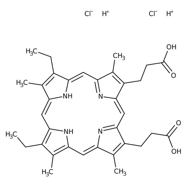Alfa Aesar™Dichlorhydrate de mésopaphyrine IX, 97% 10mg Alfa Aesar™Dichlorhydrate de mésopaphyrine IX, 97%