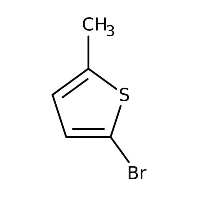 2-Bromo-5-methylthiophene, stabilised with Copper (0.1%) and Sodium bicarbonate (0.4, Acros Organics 5g; Glass bottle 2-Bromo-5-methylthiophene, stabilised with Copper (0.1%) and Sodium bicarbonate (0.4, Acros Organics