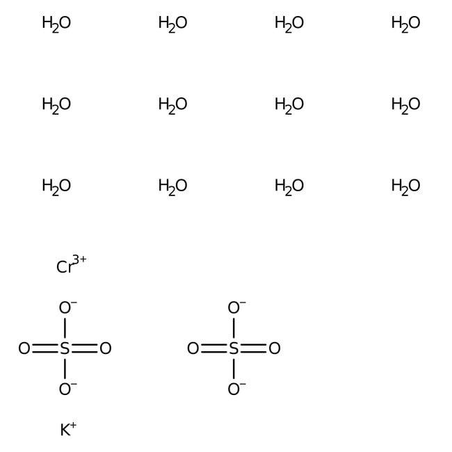 Chromium potassium sulfate dodecahydrate, 98+%, ACROS Organics™ 5g Chromium potassium sulfate dodecahydrate, 98+%, ACROS Organics™