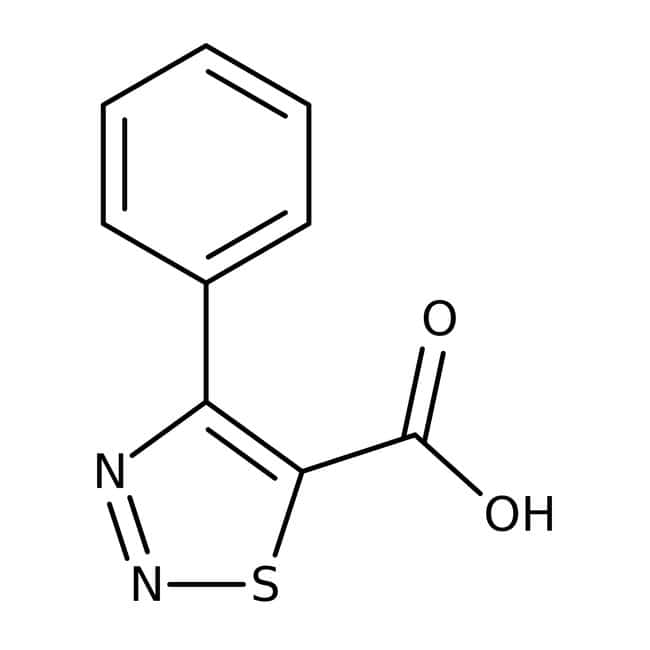 4-Phenyl-1,2,3-thiadiazol-5-carbonsäure, 97 %, Maybridge Braunglasflasche, 5 g 4-Phenyl-1,2,3-thiadiazol-5-carbonsäure, 97 %, Maybridge
