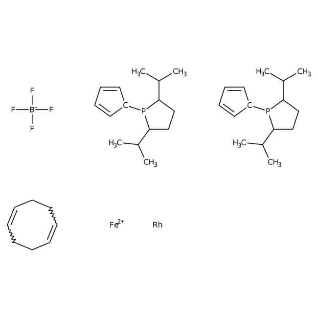 1,1'-Bis((2R,5R)-2,5-diisopropylphospholano)ferrocene(cyclooctadiene)rhodium(I) tetrafluoroborate, 97%, ACROS Organics™ 250mg; Glass bottle 1,1'-Bis((2R,5R)-2,5-diisopropylphospholano)ferrocene(cyclooctadiene)rhodium(I) tetrafluoroborate, 97%, ACROS Organics™