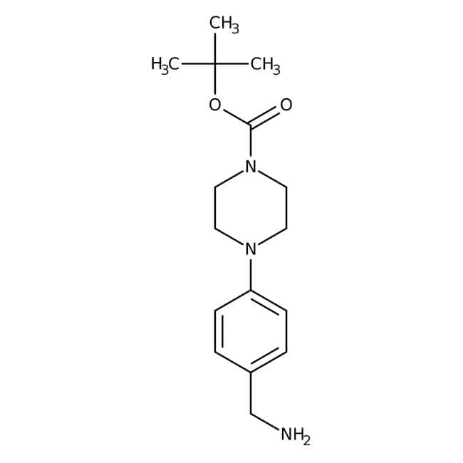 tert-Butyl 4-[4-(aminomethyl)phenyl]tetrahydro-1(2H)-pyrazinecarboxylate, ≥90%, Maybridge™ Amber Glass Bottle; 1g tert-Butyl 4-[4-(aminomethyl)phenyl]tetrahydro-1(2H)-pyrazinecarboxylate, ≥90%, Maybridge™