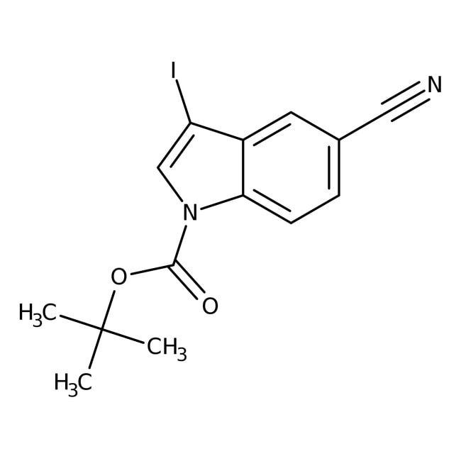Alfa Aesar™1-Boc-3-iodoindole-5-carbonitrile, 97% 250mg Alfa Aesar™1-Boc-3-iodoindole-5-carbonitrile, 97%