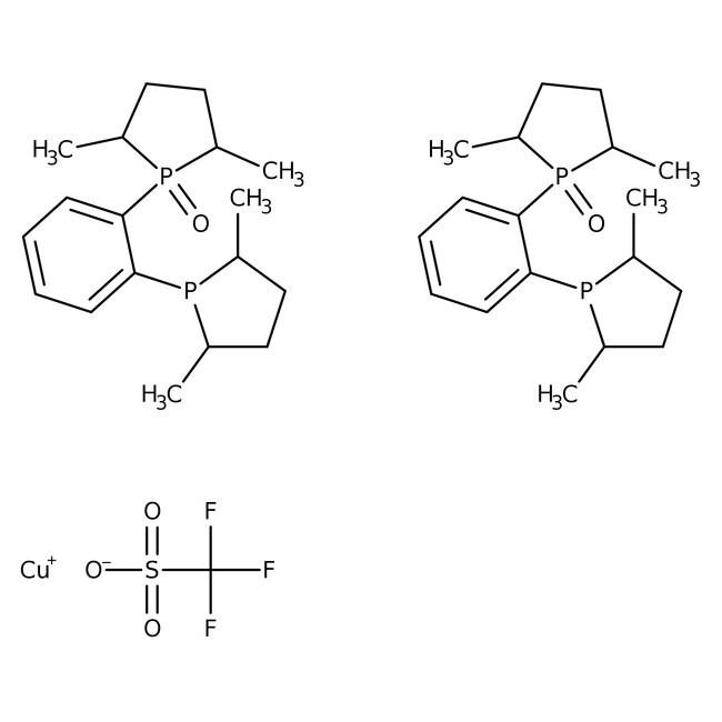 Bis[(2R,5R)-1-(2-[(2R,5R)-2,5-Dimethyl-1-Phospholanyl]phenyl)-2,5-Dimethylphospholan 1-oxid]kupfer(I)-Triflat, 97%, Alfa Aesar™ 100mg Bis[(2R,5R)-1-(2-[(2R,5R)-2,5-Dimethyl-1-Phospholanyl]phenyl)-2,5-Dimethylphospholan 1-oxid]kupfer(I)-Triflat, 97%, Alfa Aesar™