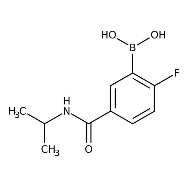 Alfa Aesar™2-Fluoro-5-(isopropylcarbamoyl)benzeneboronic acid, 98% 250mg Alfa Aesar™2-Fluoro-5-(isopropylcarbamoyl)benzeneboronic acid, 98%