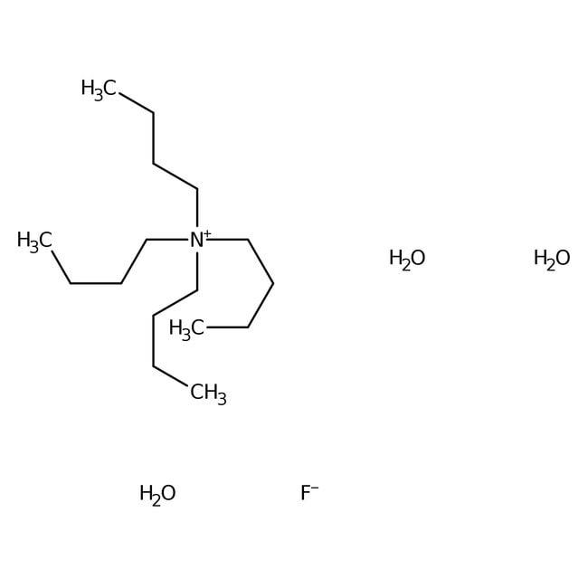 Tetrabutylammonium fluoride trihydrate, 99%, ACROS Organics™ 10g; Glass bottle Tetrabutylammonium fluoride trihydrate, 99%, ACROS Organics™
