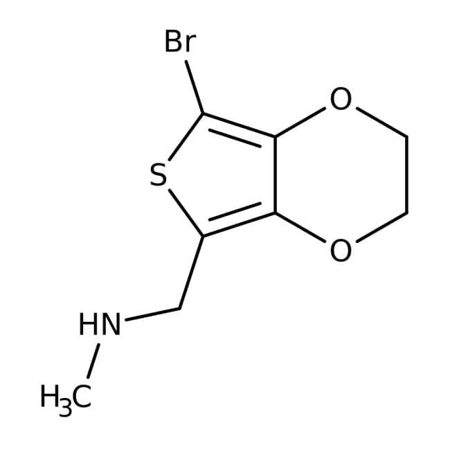 N-Methyl-(7-bromo-2,3-dihydrothieno[3,4-b][1,4]dioxin-5-yl)methylamine, 97%, Maybridge Amber Glass Bottle; 1g N-Methyl-(7-bromo-2,3-dihydrothieno[3,4-b][1,4]dioxin-5-yl)methylamine, 97%, Maybridge