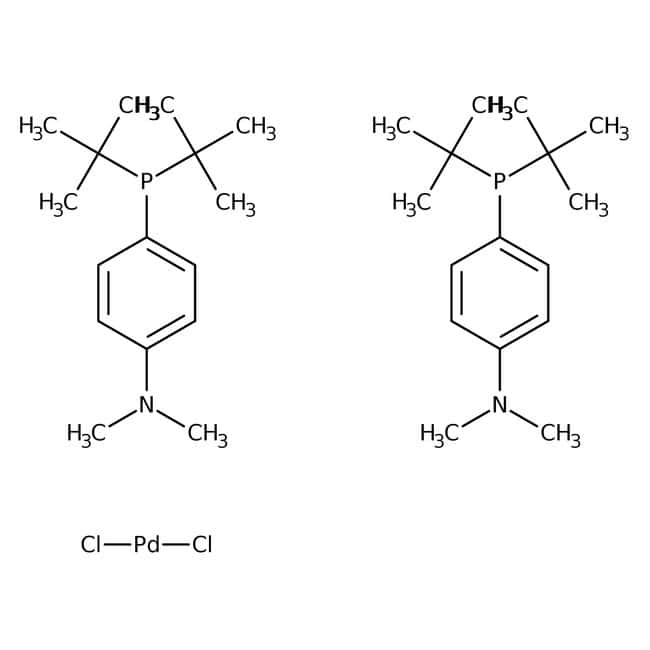 Bis[di-tert-butyl(4-dimethylaminophenyl)phosphine]dichloropalladium, 95%, Acros Organics™ Glass bottle; 1g Bis[di-tert-butyl(4-dimethylaminophenyl)phosphine]dichloropalladium, 95%, Acros Organics™