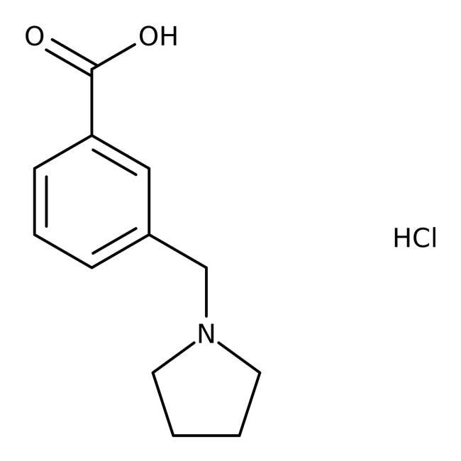 3-(Pyrrolidin-1-ylmethyl)benzoic acid hydrochloride, 90%, Maybridge™ Amber Glass Bottle; 250mg 3-(Pyrrolidin-1-ylmethyl)benzoic acid hydrochloride, 90%, Maybridge™