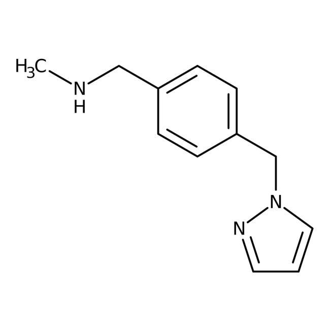N-Methyl-4-(1H-pyrazol-1-ylmethyl)benzylamine, 97%, Maybridge Amber Glass Bottle; 1g N-Methyl-4-(1H-pyrazol-1-ylmethyl)benzylamine, 97%, Maybridge