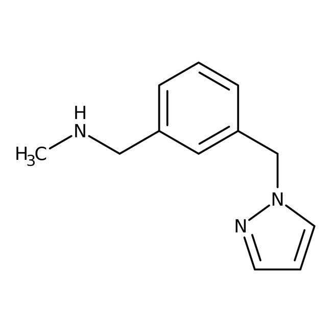 N-Methyl-3-(1H-pyrazol-1-ylmethyl)benzylamine, 90%, Maybridge™ Amber Glass Bottle; 250mg N-Methyl-3-(1H-pyrazol-1-ylmethyl)benzylamine, 90%, Maybridge™