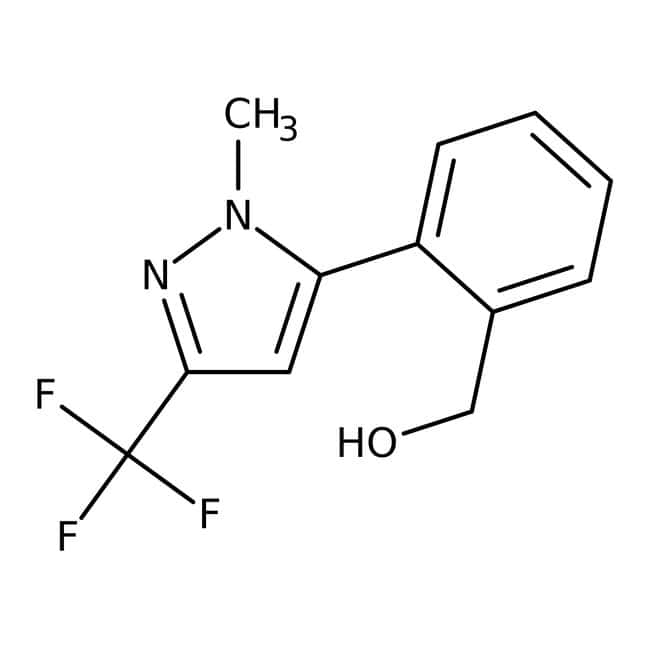 {2-[1-Methyl-3-(trifluoromethyl)-1H-pyrazol-5-yl]phenyl}methanol, 97%, Maybridge™ Amber Glass Bottle; 1g {2-[1-Methyl-3-(trifluoromethyl)-1H-pyrazol-5-yl]phenyl}methanol, 97%, Maybridge™