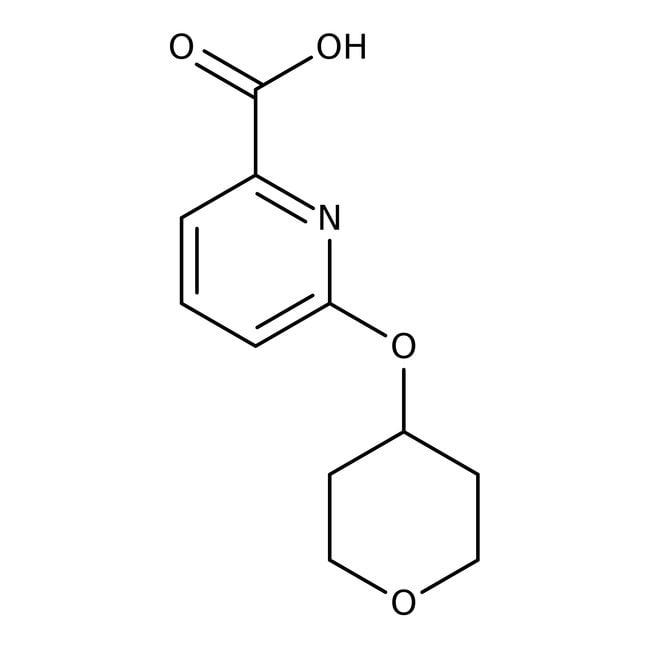 6-(Tetrahydropyran-4-yloxy)pyridine-2-carboxylic acid, 97%, Maybridge™ Amber Glass Bottle; 1g 6-(Tetrahydropyran-4-yloxy)pyridine-2-carboxylic acid, 97%, Maybridge™