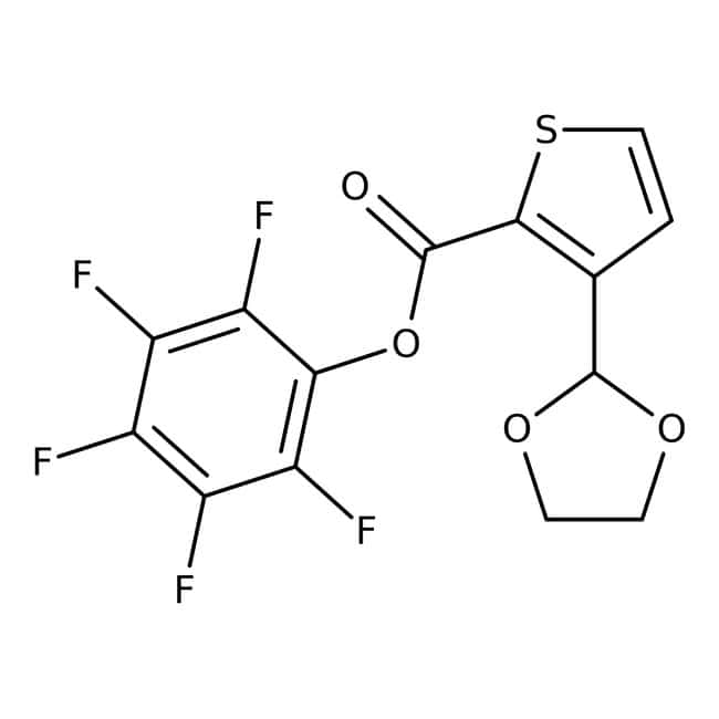 Pentafluorophenyl 3-(1,3-dioxolan-2-yl)thiophene-2-carboxylate, 97%, Maybridge™ Amber Glass Bottle; 1g Pentafluorophenyl 3-(1,3-dioxolan-2-yl)thiophene-2-carboxylate, 97%, Maybridge™