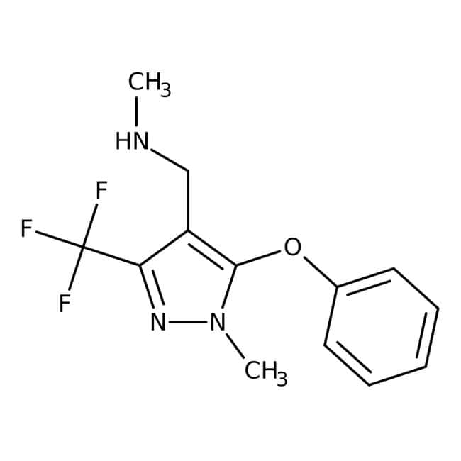 N-Methyl-[1-methyl-5-phenoxy-3-(trifluormethyl)-1H-pyrazol-4-yl]methylamin, 90 %, Maybridge Braunglasflasche, 1 g N-Methyl-[1-methyl-5-phenoxy-3-(trifluormethyl)-1H-pyrazol-4-yl]methylamin, 90 %, Maybridge
