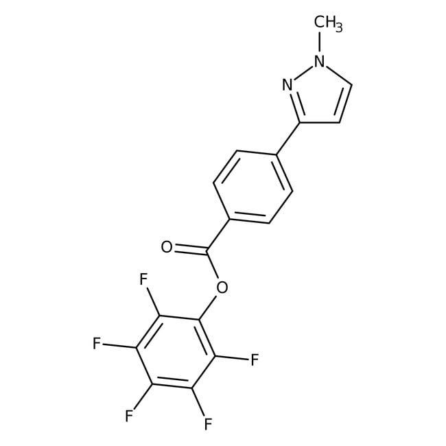 Pentafluorophenyl 4-(1-methyl-1H-pyrazol-3-yl)benzoate, 97%, Maybridge™ Amber Glass Bottle; 1g Pentafluorophenyl 4-(1-methyl-1H-pyrazol-3-yl)benzoate, 97%, Maybridge™