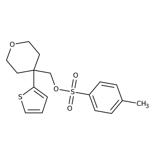 (4-Thien-2-yltetrahydropyran-4-yl)methyl toluene-4-sulfonate, 97%, Maybridge Amber Glass Bottle; 1g (4-Thien-2-yltetrahydropyran-4-yl)methyl toluene-4-sulfonate, 97%, Maybridge
