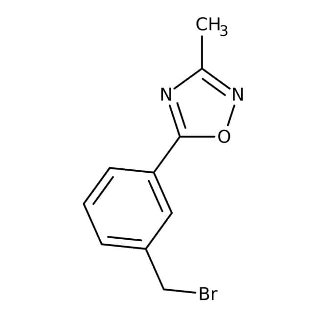 5-[3-(Bromomethyl)phenyl]-3-methyl-1,2,4-oxadiazole, 97%, Maybridge Amber Glass Bottle; 1g 5-[3-(Bromomethyl)phenyl]-3-methyl-1,2,4-oxadiazole, 97%, Maybridge