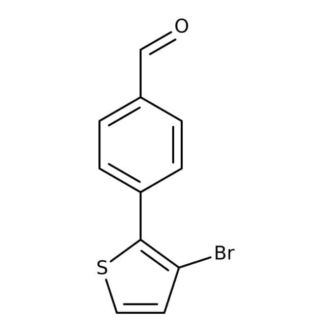 4-(3-Bromothien-2-yl)benzaldehyde, 97%, Maybridge™ Amber Glass Bottle; 5g 4-(3-Bromothien-2-yl)benzaldehyde, 97%, Maybridge™