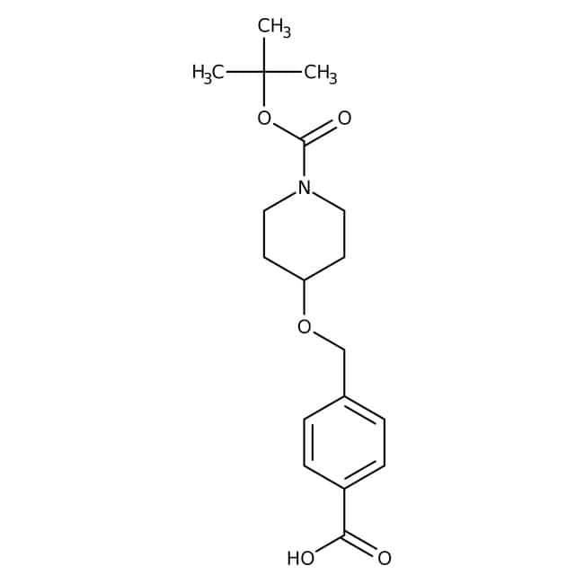 4-{[1-(tert-butoxycarbonyl)piperid-4-yloxy]methyl}benzoic acid, 97%, Maybridge Amber Glass Bottle; 5g 4-{[1-(tert-butoxycarbonyl)piperid-4-yloxy]methyl}benzoic acid, 97%, Maybridge