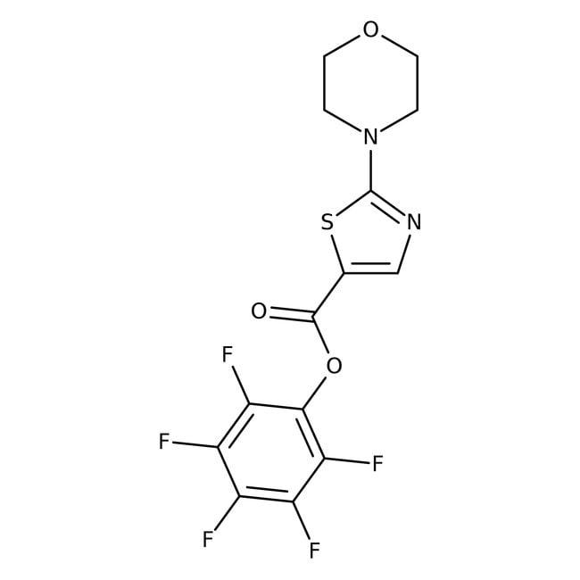 Pentafluorophenyl 2-morpholino-1,3-thiazole-5-carboxylate, 97%, Maybridge™ Amber Glass Bottle; 1g Pentafluorophenyl 2-morpholino-1,3-thiazole-5-carboxylate, 97%, Maybridge™